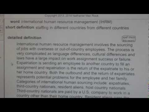international human resource management (IHRM) PHR SPHR Human Resources License Exam VocabUBee.com