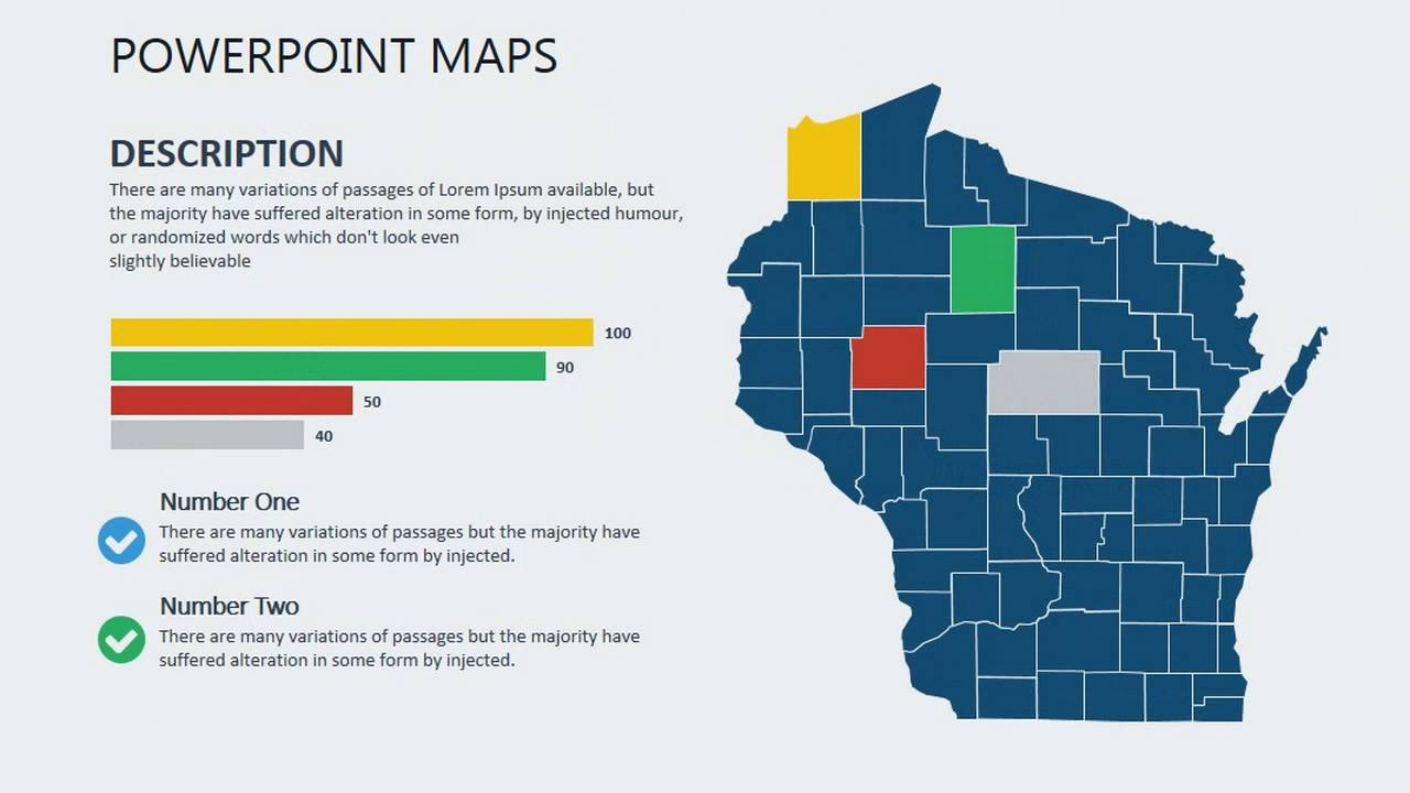 Wisconsin USA PowerPoint maps - USA maps - how to create a map - YouTube