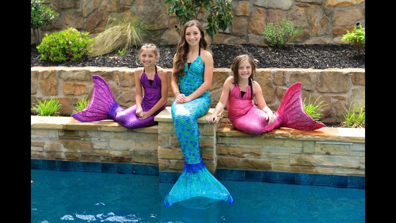 Live Mermaids Swimming In Our Pool Youtube