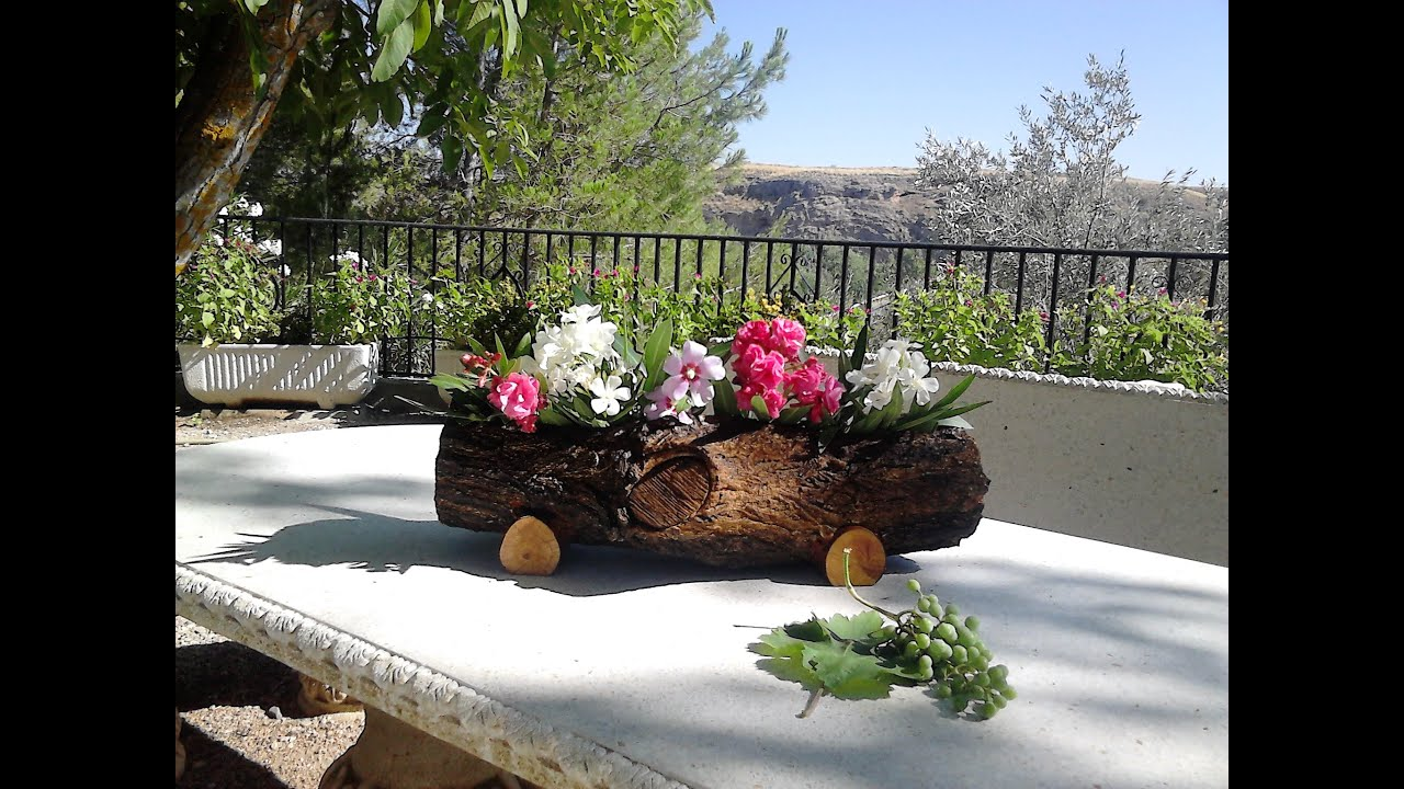 Jardinera hecha con tronco de rbol youtube for Arboles decorativos para jardin