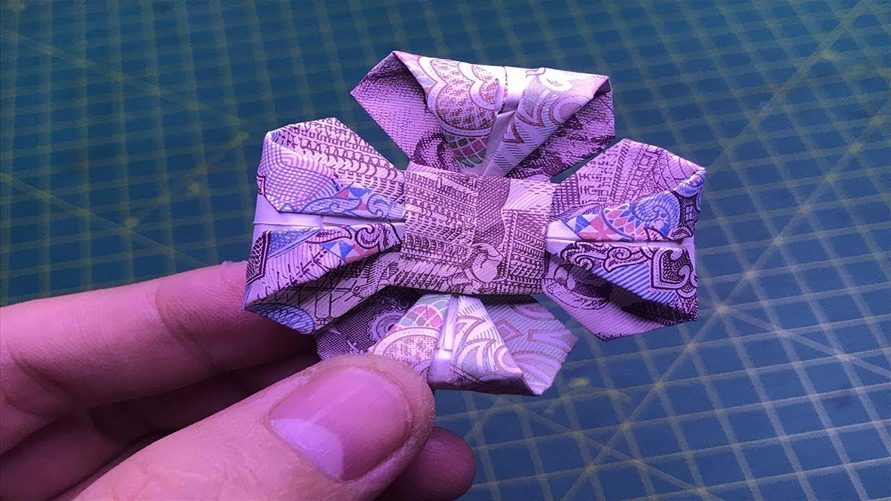hướng dẫn cách làm hoa bằng tiền giấy money origami flower tutorials