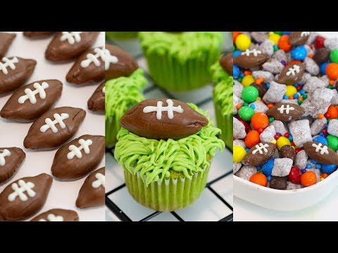 3 Super Bowl Snack Ideas | Football Cupcakes, Puppy Chow and Tootsie Roll Footballs | RECIPE