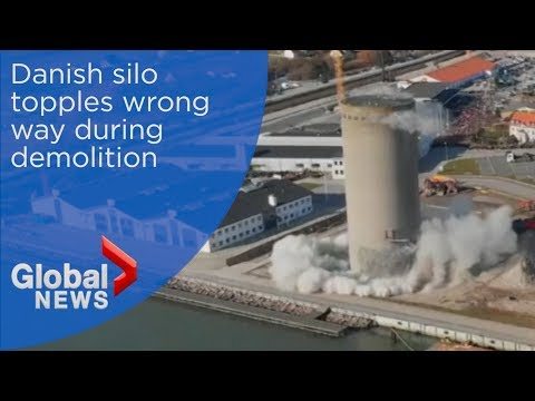 Silo Falls Wrong Way During Demolition In Denmark