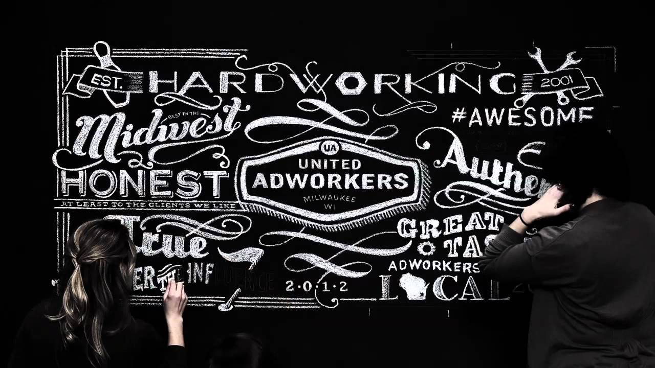 United Adworkers Chalkboard Art Time Lapse