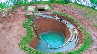 Build Swimming Pool Water Slide Around Secret Underground House