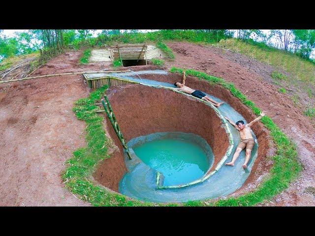 Build Swimming Pool Water Slide Around Secret Underground House