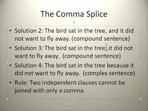 Simple Grammar Comma Splice - YouTube