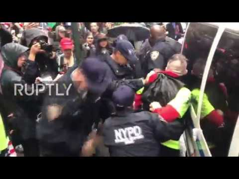USA: Scuffles break out as anti-Sarsour protesters rally outside CUNY