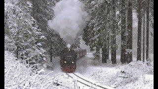 Harzquer- und Brockenbahn im Schnee Dezember 2018 mit 99 7241
