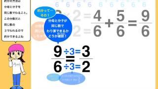 分数の足し算について、わかりやすく説明しています。