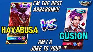 HAYABUSA vs GUSION in MYTHIC RANK, WHO IS THE STRONGEST ASSASSIN? | MOBILE LEGENDS