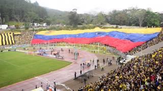 Salida Deportivo final Táchira Trujillanos 2015 Pueblo Nuevo despliegue trapos y bandera gigante