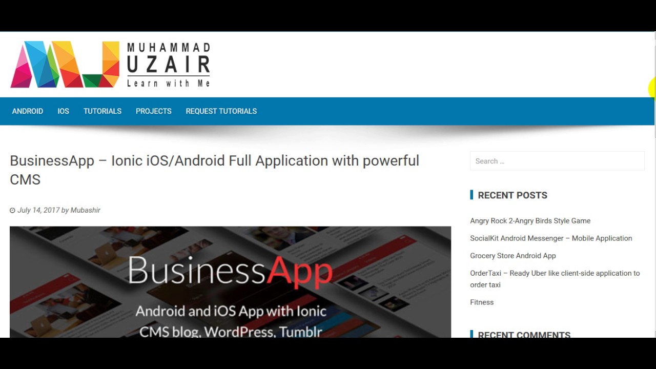 BusinessApp Ionic iOS Android Full Application with powerful CMS