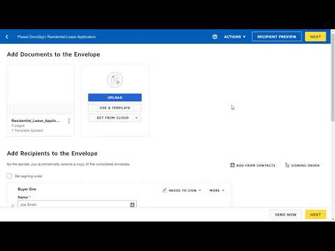 How to send Lease Application from Docusign
