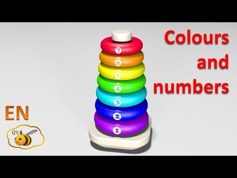 Thumbnail: Learn colors and numbers for kids in English. Ring stacker. Cartoons for babies 1 year.