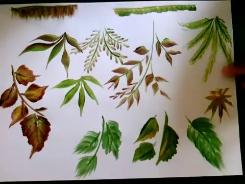 Single brush 10 types of leaves onestroke acrylic for Types of acrylic paint