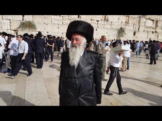Hasidim (Orthodox Jews) at the Western Wall (Wailing Wall) for the Simchat Torah holiday. Jerusalem