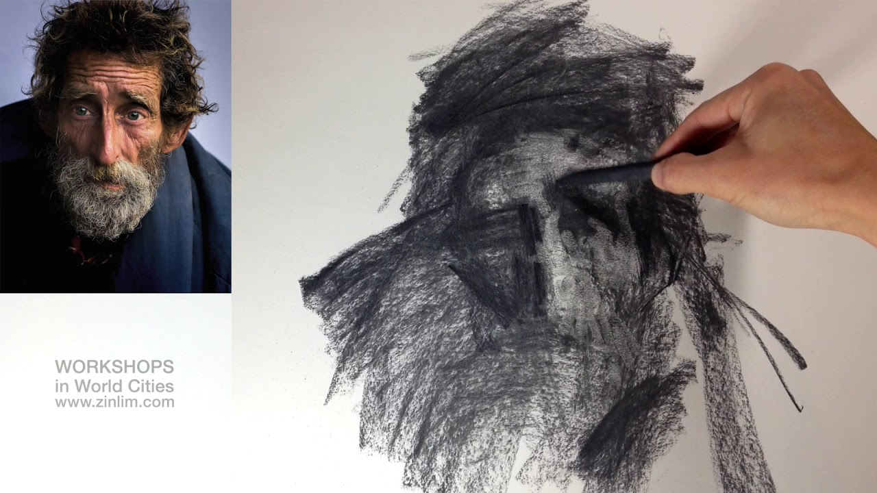 Expressive Portrait Drawing in Charcoal