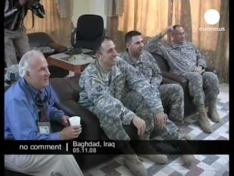 US-soldiers watch Barack Obama's triumph on euronews in Iraq.
