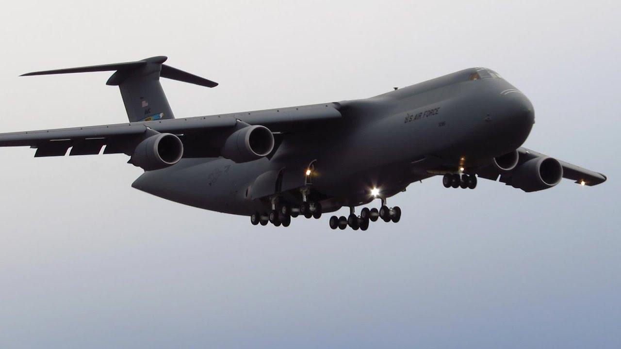 super rare us air force lockheed c 5 galaxy close up landing at