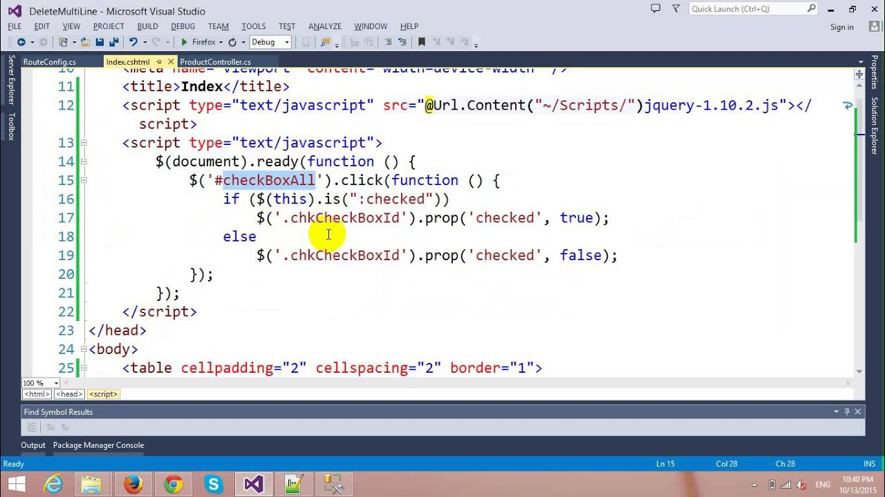 Delete Multiple Rows using Checkbox in ASP NET MVC and Entity Framework