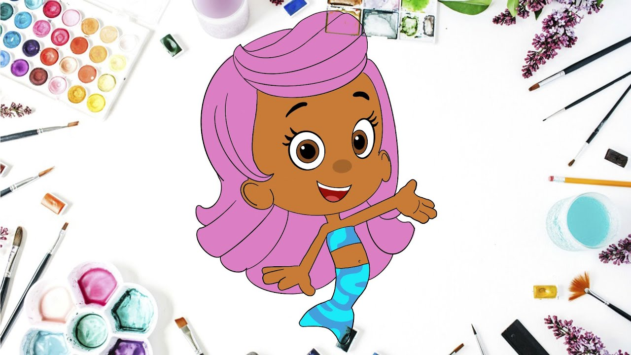 How to draw Molly from Bubble Guppies / Coloring Molly Bubble Guppies  Coloring Book Page