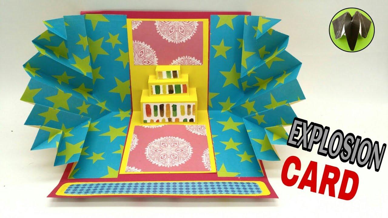 birthday explosion card  diy  scrapbook  handmade