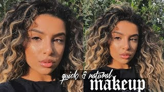 GET READY WITH ME IN A RUSH - NATURAL MAKEUP + CURLY HAIR