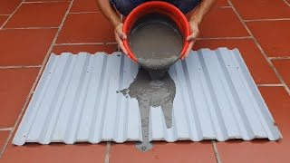 Cement Craft Ideas / Cement + Sand +Old Corrugated iron = Beautiful Plant pots / Simple and Easy /