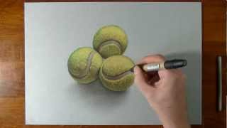 How to draw 3D tennis balls
