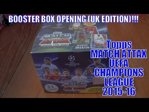 UNBOXING BOOSTER BOX (500 CARDS!) ⚽️ topps MATCH ATTAX UEFA CHAMPIONS LEAGUE 2015/16 Trading Cards