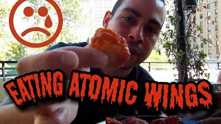 Wingstop challenge 5 hottest flavors atomic wings (OMG)