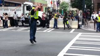 Moonwalking Traffic Cop @ Charlotte DNC