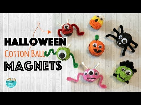 Halloween Crafts for Kids  | Easy Spider & Pumpkin Magnets using Cotton Balls
