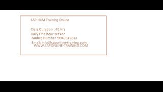 sap hcm training  by Mr srinivas