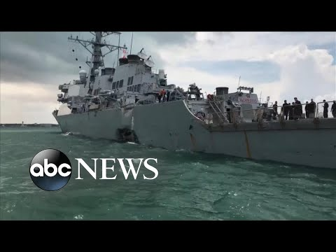 10 missing after US Navy destroyer collides with merchant ship off Singapore