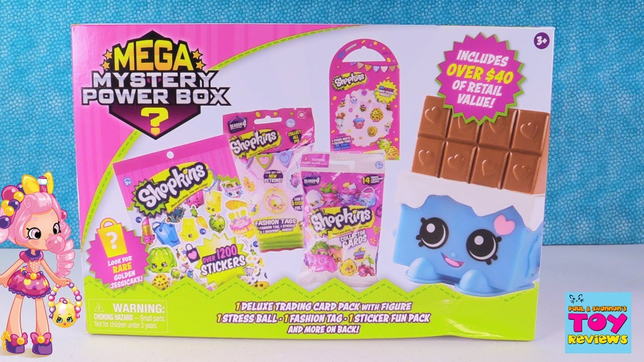 24c3523e0d Shopkins Mega Mystery Power Box Figures Cards Stickers Pens   More Toy  Review