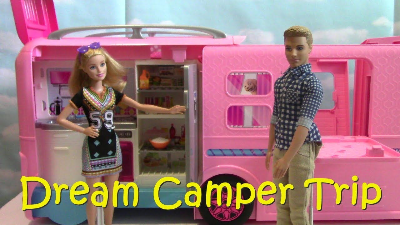 Barbie RV Campsite Play Set Dolls Family Ken Dream Camper Swimming Bedroom Slide