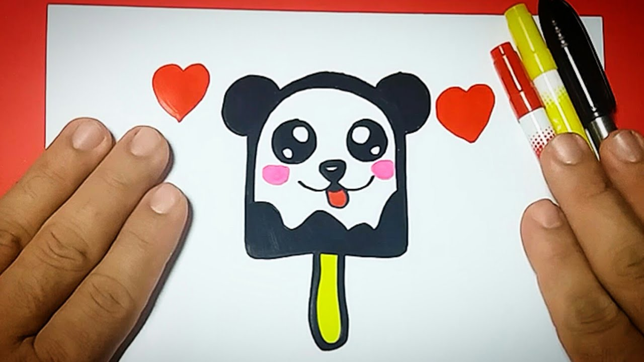 Como Desenhar Um PICOLÉ URSO PANDA Fácil GELADO KAWAII