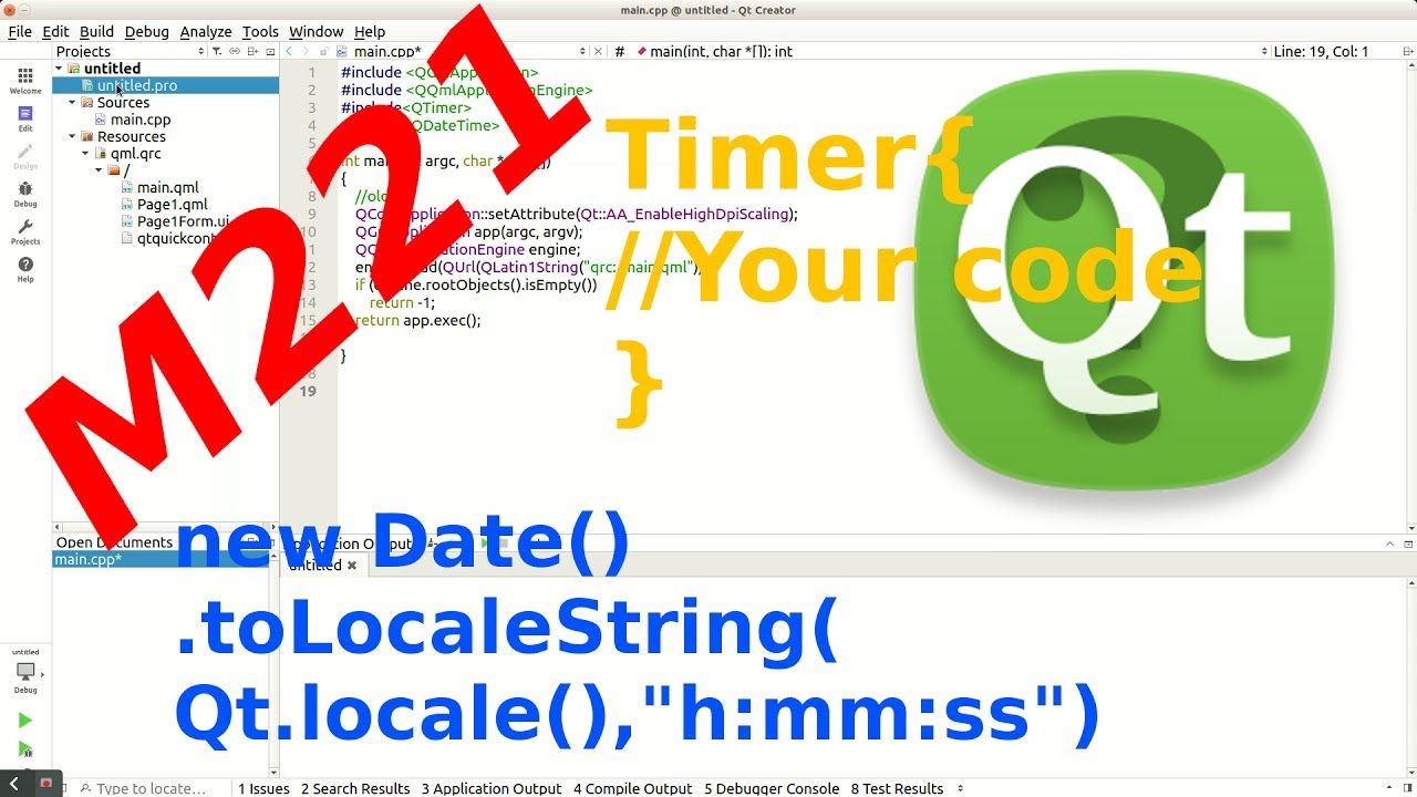 [+EXP-Example] Qt Creator: Date QML Type - Threading Basics with Timer: Fix  M221 in QML