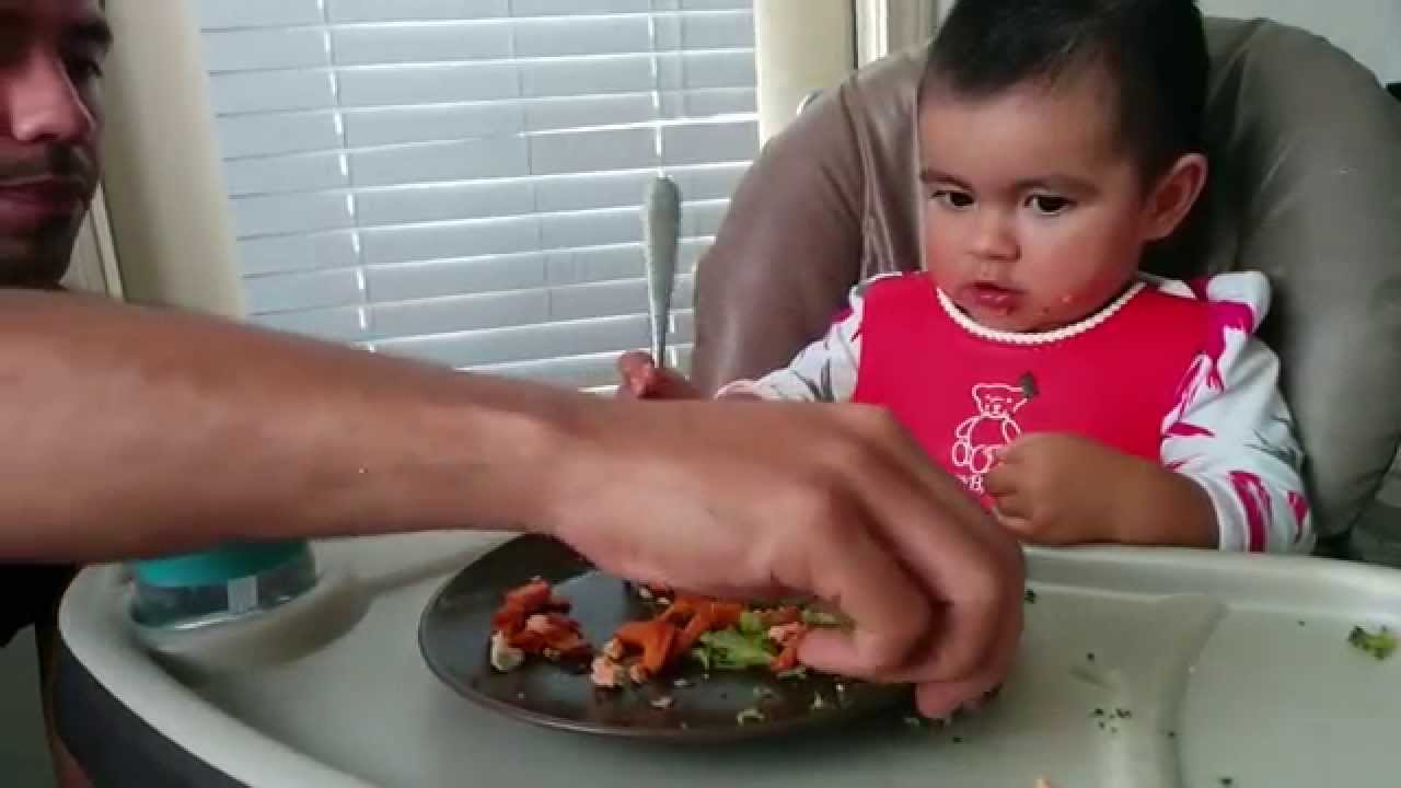 15 Month old baby learning how to use a fork