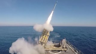 See rocket launcher intercept missile from moving ship