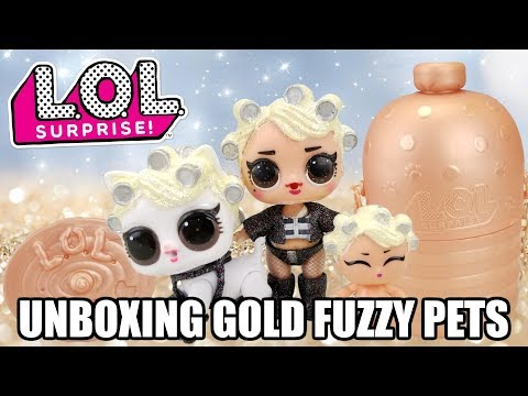 Unboxing GOLD LOL SURPRISE FUZZY PETS | L.O.L. Makeover Series 5 Rare Pet | Glitterati LOL Pets