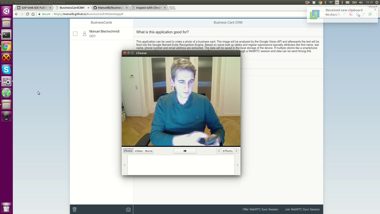 Business Card CRM - OpenUI5, WebRTC, Google Vision API Showcase