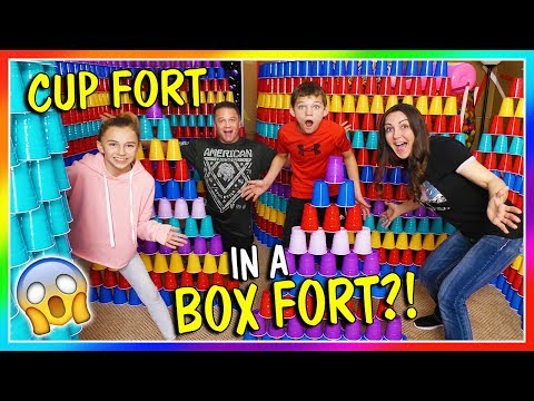 OUR HUGE CUP FORT IN A BOX FORT! | We Are The Davises