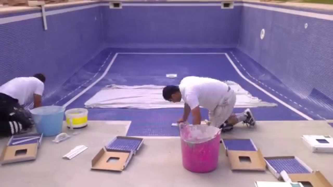 st tropez swimming pool tiling - YouTube