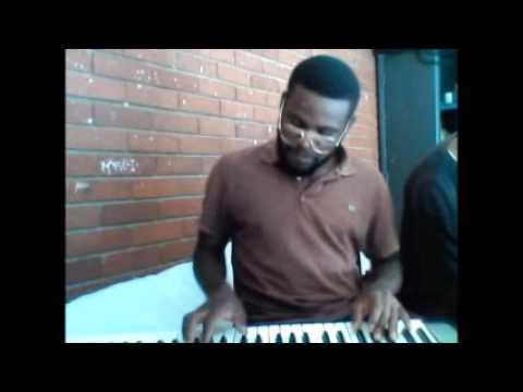 Chelle Kennie pianing Ruacana High School anthem