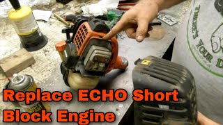 How To Replace A Short Block Engine On An Echo SRM-280 Weed Trimmer - with Jaryl