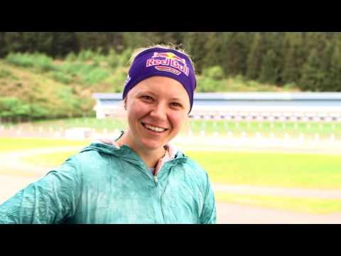 Biathlon-Star Miriam Gössner vor dem BMW Berlin-Marathon