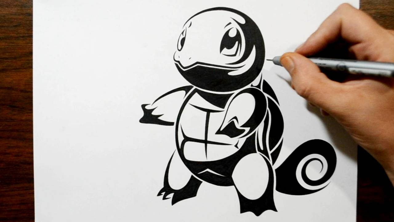 Drawing Squirtle in a Tribal Tattoo Design Style - YouTube